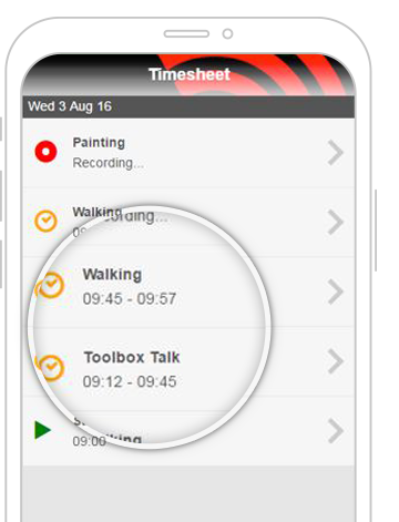 Time App mobile screen